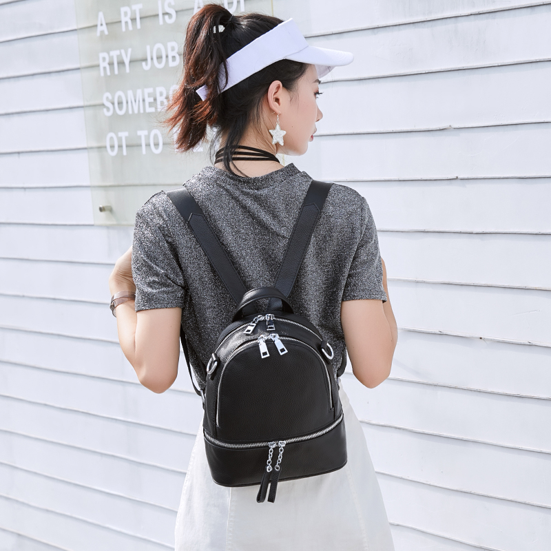 2019 Summer New Silver Hardware 100% Genuine Leather White Women's Backpacks First Layer Cowhide Summer Backpack Young Girls Bag