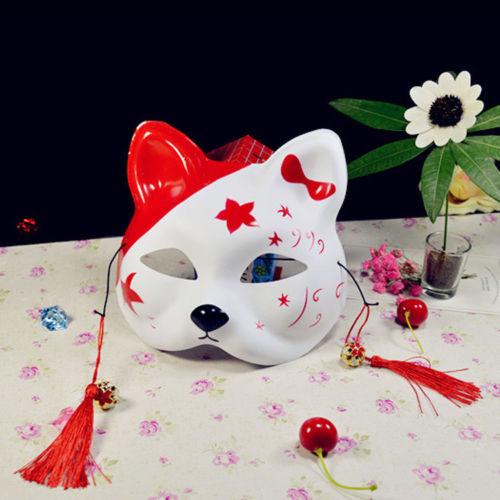 Half Face Fox Mask Japanese Anime Hand-painted Kitsune Halloween Cosplay Mask