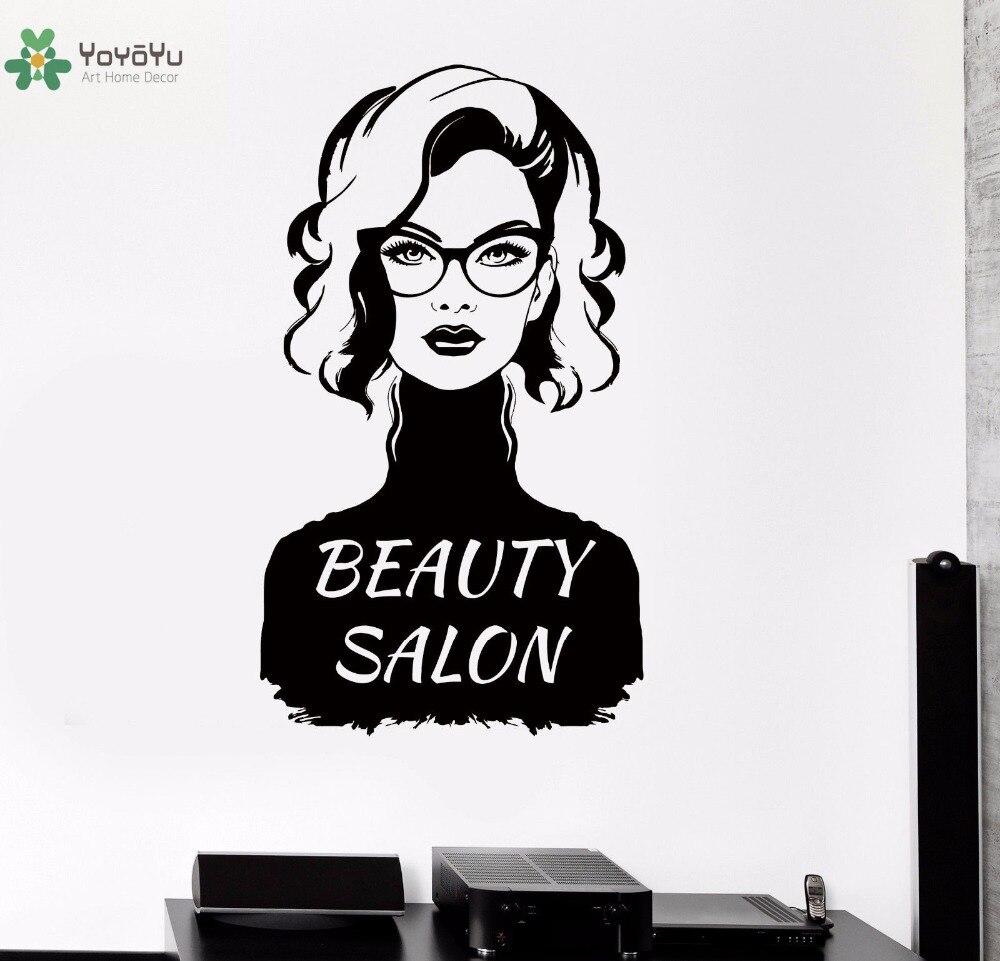 """YOYOYU Vinyl Wall Decal """"Beauty Salon"""" Fashion Curly Lady"""