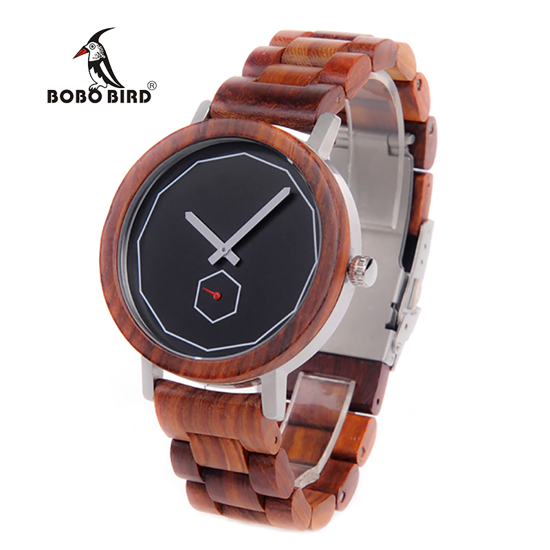 BOBO BIRD Timepiece Men Wooden Watches with Independent Second Hand Design Quartz Movement Wristwatch relogio masculino B-M29 bobo bird new luxury wooden watches men and women leather quartz wood wrist watch relogio masculino timepiece best gifts c p30