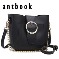 Antbook Brand Design Bucket Bag Women Pu Leather Chain Shoulder Bag Two Strap Handbag Large Capacity