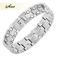 Vivari 2017 Healing High Power Silver Titanium Magnetic Men Bracelet Classic Jewelry 36pcs Magnets Male Fashion