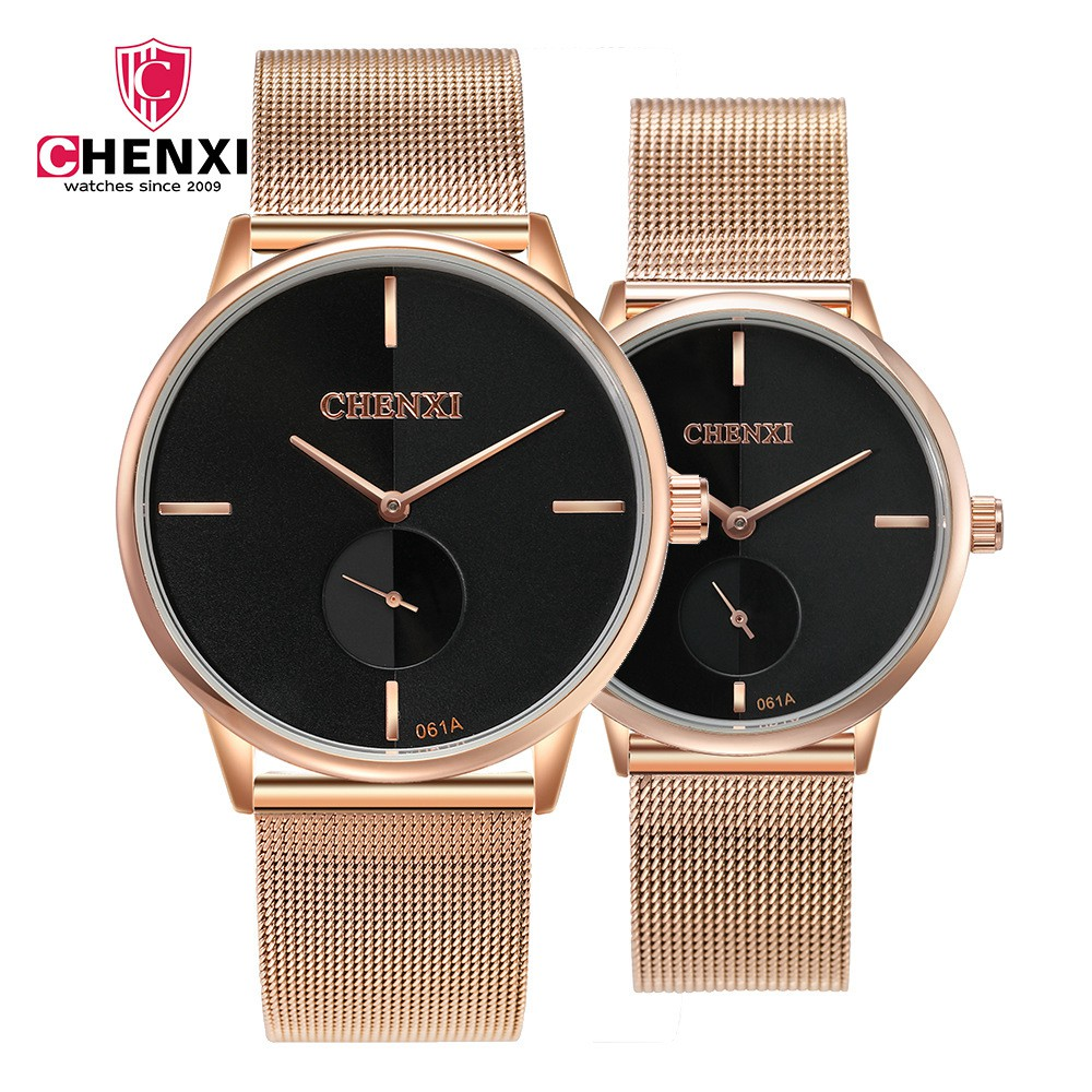 Fashion Casual Lover's Watches CHENXI Brand Black Rose Gold Men Women Couple Wristwatch Waterproof Unique Present Stop Watch