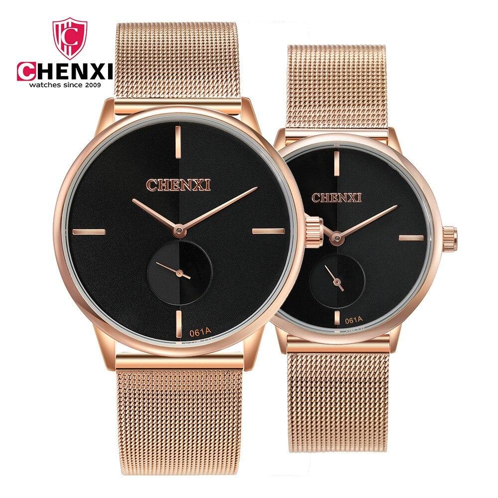 Fashion Casual Lover's Watches CHENXI Brand Black Rose Gold Men Women Couple Wristwatch Waterproof Unique Present Stop Watch