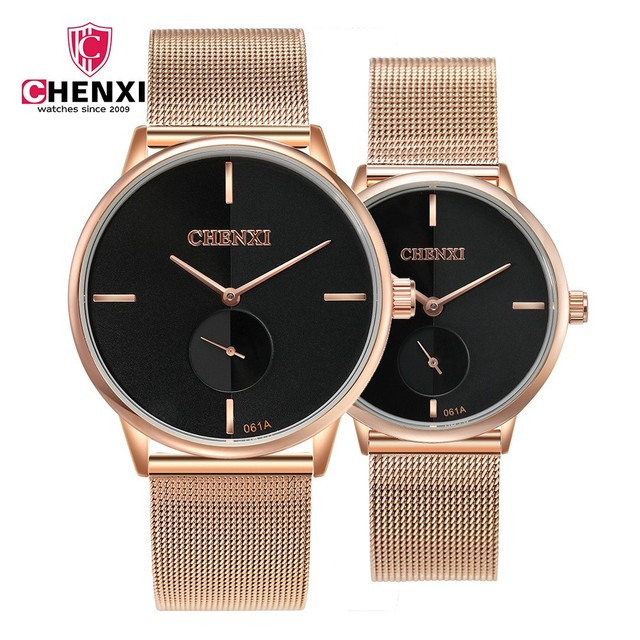Fashion Casual Lover's Watches CHENXI Brand Black Rose Gold Men Women Couple Wri