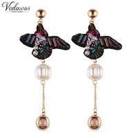 Vedawas Boho Style Simple Maxi Pendant Luxury Imitation Pearl Statement Stud Earrings for Women Fashion Jewelry Wholesale 1799