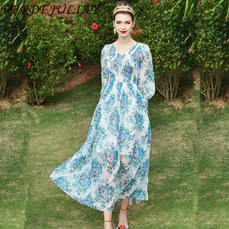 Modne sukienki 2019 kobiety letnie kwiaty druku ulicy z dekoltem w kształcie litery v talii elastyczna latarnia z długim rękawem z długim niebo niebieski europejski gorąca sukienka w Suknie od Odzież damska na  Grupa 1