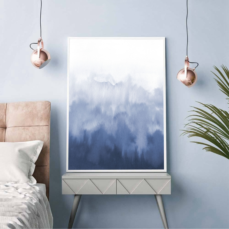 Blue Watercolour Abstract Canvas Painting Home Decor