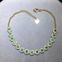 Klassieke zilveren emerald armband 15 STKS 3mm * 3mm natuurlijke Ik grade emerald armband solid 925 zilveren edelsteen braceletClassic si
