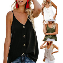 Womens loose Short  T-Shirts Tops Fashion Crop Button Vest Top Women Sexy Sleeveless V-Neck Shirt Ladies sling Camisole