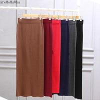 AreMoMuWha Spring and Autumn and winter large size skirt women's split long section slim slim skirt loose step skirt fat sister