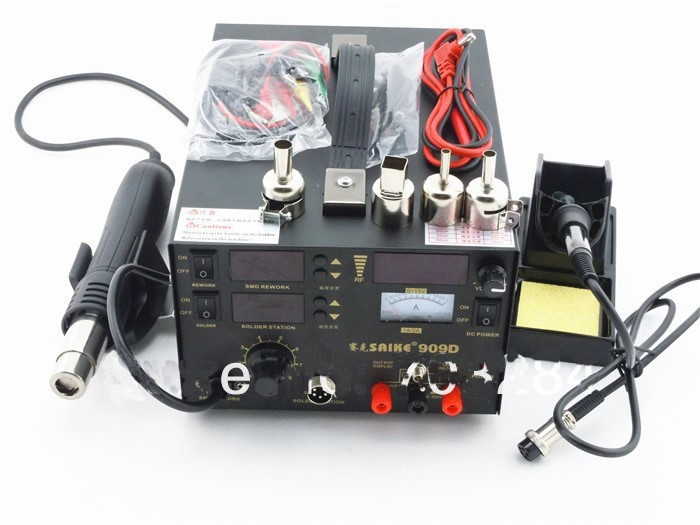 110 В/220 В Saike 909D пайки паяльной станции сварочный аппарат 3 в 1 паяльник + горячий воздух пистолет + Питание