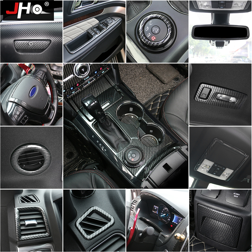 JHO ABS Carbon Fiber Grain Cover Trim For Ford Explorer 2011-2018 Car Styling Accessories Garnish 2012 2013 2014 2015 2016 2017