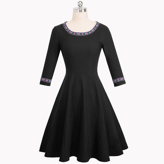 Nice-forever Vintage Embroidery Pattern Patchwork Elegant vestidos 3/4 Sleeve A-Line Pinup Business Women Flare Dress A066
