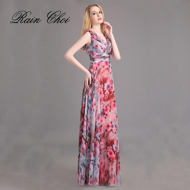 ec7db1b5dc5f Vestito Da Sera Chiffon Modello di Fiore Stampa Floreale Del Partito di  Promenade vestiti Lunghi Da