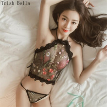 new transparent Net yarn Embroidery Flower lesbian halter Bellyband T-back sexy lingerie costumes babydoll langeri lenceria