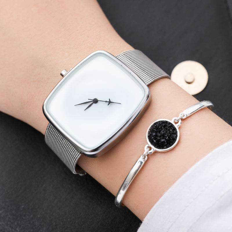 цена на Brand Women Watches Women Steel Mesh Square reloj mujer Luxury Dress Watch Ladies Quartz Black Silver Wrist Watch Montre Femme