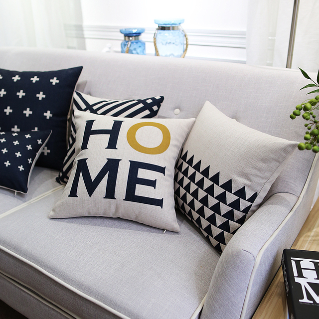 line Shop Nordic style White And Black Decorative Pillow Covers