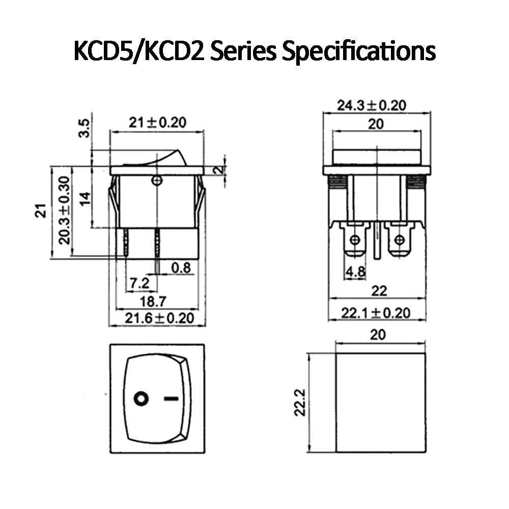 1 PC KCD5 4PIN Double verrouillage interrupteur à bascule interrupteur marche-arrêt bouton poussoir interrupteur balançoire 6A 250 V AC noir