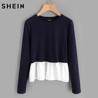 SHEIN Contrast Frill Trim Rib Knit T Shirt 2017 Casual T Shirt For Women Color Block