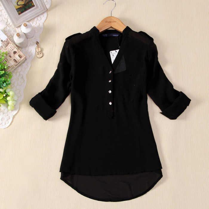 Darmowa strusia moda szyfonowa bluzka 2018 kobiet odzież z długim rękawem jesień marka koszula casualowy luźny top oversize koszulka Femme