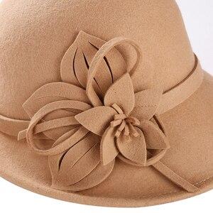 Image 4 - 2019 yeni kadın kova şapka kış yün Vintage çiçekli bayan Fedoras keçe şapka moda fransız melon Sombrero yün şapka kadınlar için