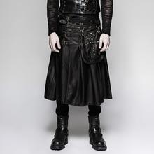 2017 New Steampunk Heavy Metal Leather Skirt for Men Black Scottish Kilt Pants with Pocket