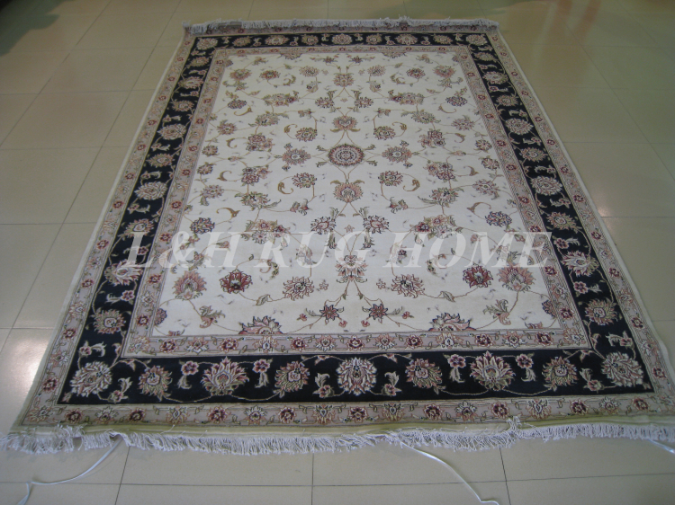 Livraison gratuite 8'X10' 160 ligne laine nouée à la main et soie Oriental persan tapis fait main tapis persan