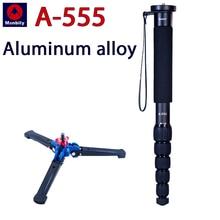 A-555 draagbare camera monopod aluminium professionele beugel kan worden uitgerust met een statief