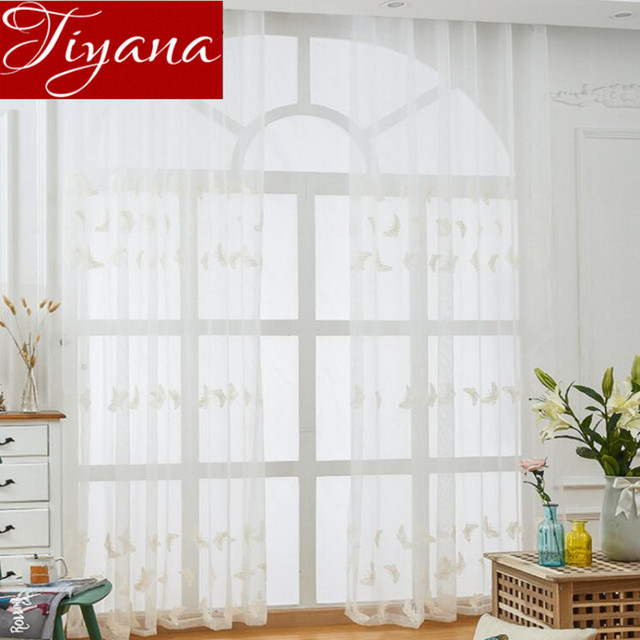 Embroidered Voile Curtains Pure White Net Sheer Butterflies Window Yarn For Modern Living Room Tulle