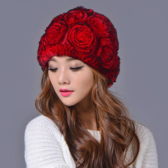 Venda quente de inverno chapéus de pele das mulheres rex naturais pele de coelho flor caps atacado varejo real rex rabbit fur gorros chapéus de inverno