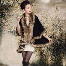 2018 Winter New Large Size Womens Temperament Double-knit Cardigan Imitation Fox Fur Cape Wedding Shawl Fashion Poncho
