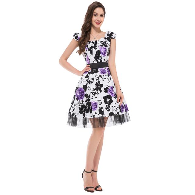 2016 Audrey Hepburn Vestidos Plus Size Women clothing Summer style Floral Print Retro Casual Party Robe ete 50s Vintage Dresses