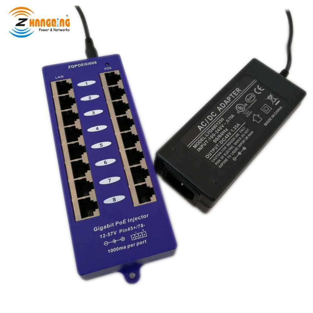 Пассивный 8 портов PoE мощность по Ethernet инжектор 100/1000 Мбит/с для Ubiquiti/Mikrotik включает
