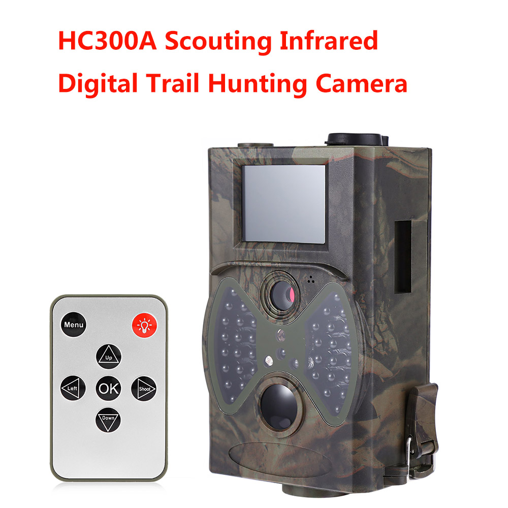 Trail Hunting Camera Scouting 1080P 12MP Infrared Cameras HC300A Night Vision Outdoor Hunter Cam Solar Panel Charger
