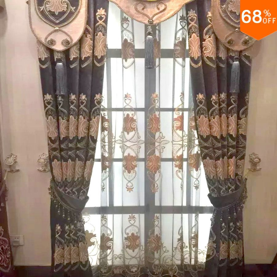 Hot Dubai Luxury magnetic drapry for living room golden embroidery door hotel beads curtains ancient times 2 meter wide window