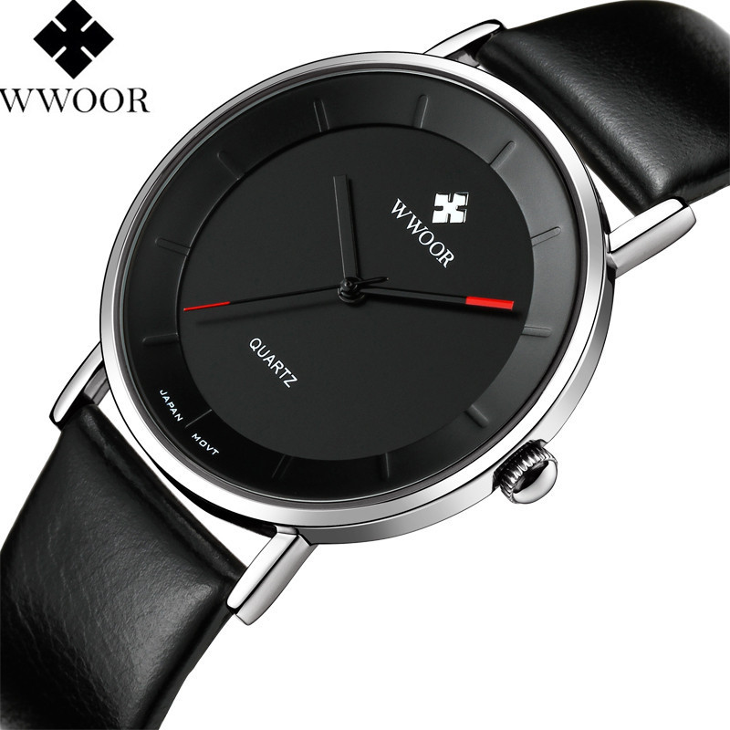 WWOOR Brand Luxury Ultra Thin Men Waterproof Sports Watches Men's Quartz Analog Clock Male Leather Strap Watch relogio masculino top brand luxury men waterproof stainless steel casual gold watch men s quartz clock male sports watches wwoor relogio masculino