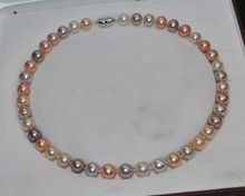 noble women gift Jewelry Silver Clasp 17INCH  Outstanding Natural RARE Multi AAA 10-11mm Round Pearl Necklace