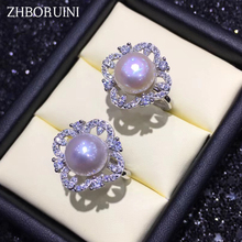 ZHBORUINI 2019 Fashion Pearl Ring Zircon Ring Natural Freshwater Pearl Rings 925 Sterling Silver Square Ring Jewelry For Women zhboruini fashion pearl jewelry set natural freshwater pearl flower necklace earrings ring 925 sterling silver jewelry for women