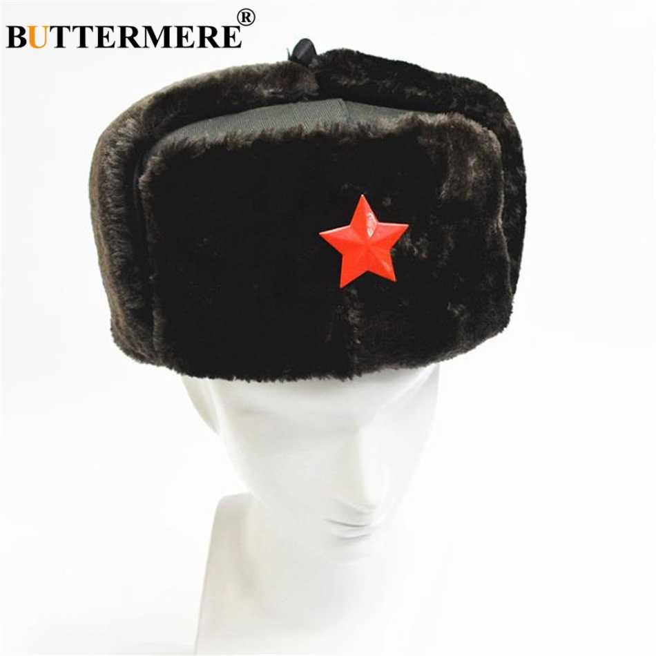 f09b10d83 BUTTERMERE Russian Winter Hat Ushanka Warm Bomber Trapper Hat Star Leather  Ear Flaps Black Unisex Fur Army Military Caps