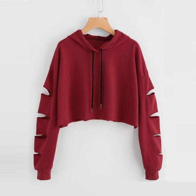 98e7506b7 € 10.48  Sudadera con capucha de agujeros grandes moda Casual mujeres tops  2018 sudadera de manga larga Jersey blusa sólida blusas tumblr en ...