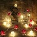 20 LED luzes piscando a luz quente + vermelho Tailândia romântico quarto casamento decoração Do Natal lâmpada pequenas luzes de néon da bateria 4 M