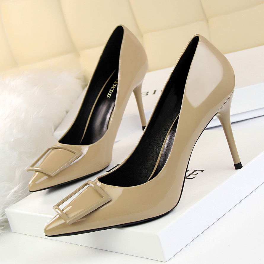 Sexy Rivets Shiny Patent Leather High Heels Nude Pointed toe Pumps Shoes  Party Shoes Women Stiletto High heel Pump 9cm-in Women s Pumps from Shoes  on ... 0127d0e875b6