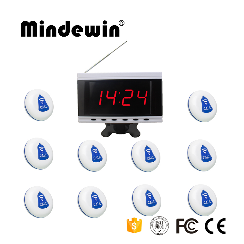Mindewin 2017 Restaurant Pager Wireless Calling Paging System 1pc Host Display+10pcs Table Bells Call Button Customer Service table service bell system best discount price for restaurant 433 92mhz pager with ce passed 1 watch 12 call button