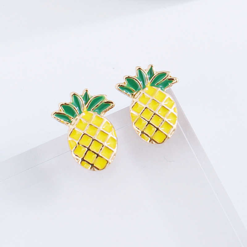 E0407 New Arrival Pineapple Stud Earrings For Women Girls Cute Fruit Stud Earring Statement Ear Jewelry Exquisite Gift Wholesale