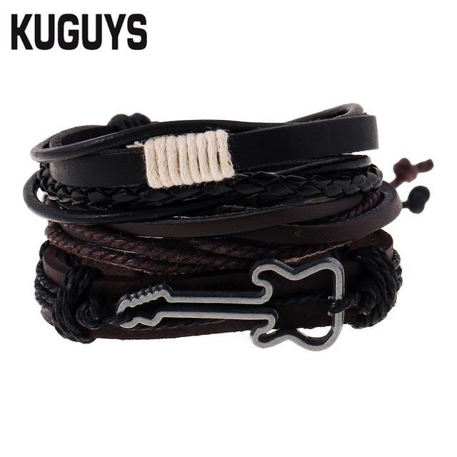 9cb05e7736b7 KUGUYS Negro Pulseras de Cuero para Hombres Cuerda de Guitarra de Rock Pulsera  Hombre Marrón Hip
