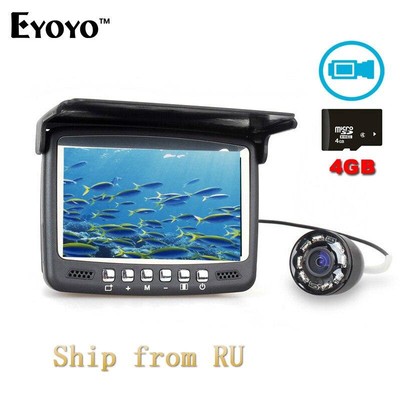 Eyoyo Infrarouge LED DVR Fish Finder 30 M 1000TVL HD Vidéo enregistreur avec 4 GB TF Carte Moniteur Caméra Sous-Marine pour Bateau de pêche