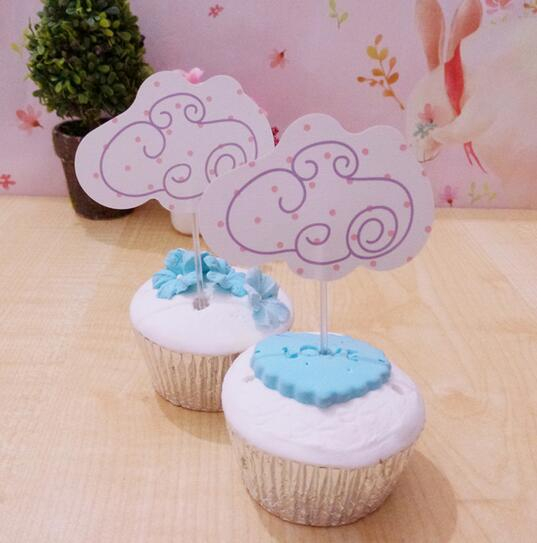 New Sale 30 Pcs Cute Clouds Cupcake Topper Cake Accessories Kids Birthday Party Supplies Decoration Event Party Supplies