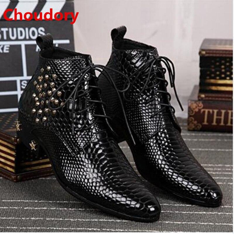 Plus rozmiar 2020 skórzane męskie kostki buty wysoki obcas obuwie męskie kowbojskie buty metalowa końcówka Studded lace up python skóry punk buty zimowe w Buty motocyklowe od Buty na  Grupa 1