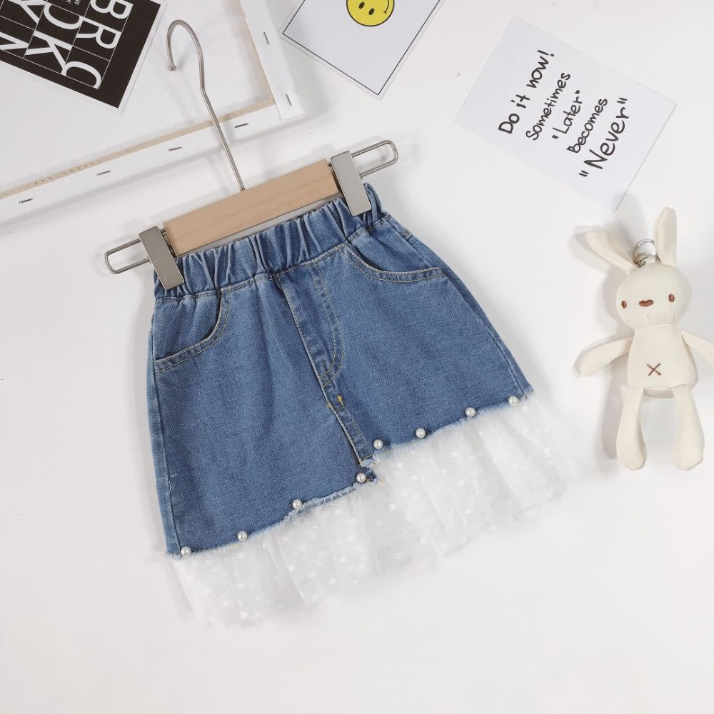 de8b34178 Falda de mezclilla para niñas, falda de mezclilla de media longitud para  niñas, falda de perlas 2-8 años